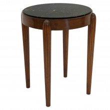 Circular Beech Table with Reeded Legs and Marble Top