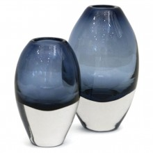 Set of Two Molded Blue Glass Vases