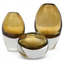 Set of 3 Molded Cognac Glass Vases