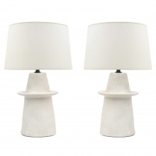 Pair of Off-White Ceramic Table Lamps