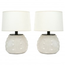 Pair of Stylized Sea Urchin Form Ceramic Table Lamps