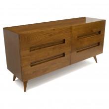 Italian Six-Drawer Oak Double Dresser/Commode