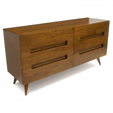 Italian Six-Drawer Oak Double Dresser/Commode
