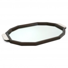 Wood and Mirrored Tray with Silver Handles