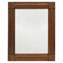 Italian Walnut Mirror with Brass Nailheads
