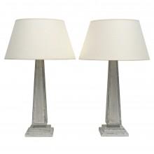 Pair of Painted Wood Column Lamps