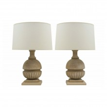 Pair of Bleached Wood Lamps with Reeded Detail