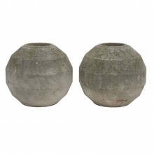 Pair of French Circular Faceted Cement Planters