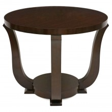 French Circular Walnut Art Deco Table