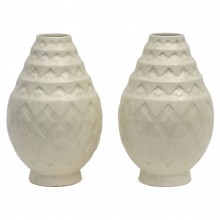 Pair of White Art Deco Crackle Glazed Vases