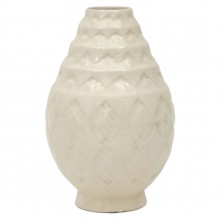 White Art Deco Crackle Glazed Vase