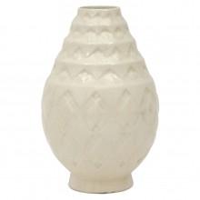 White Art Deco Crackle Glazed Vase