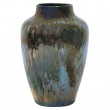 Large French Iridescent Drip Glazed Vase