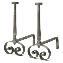 French Polished Steel Andirons