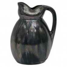 Dark Blue Iridescent Ceramic Pitcher
