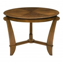 French Circular Oak Side Table with Shaped Legs