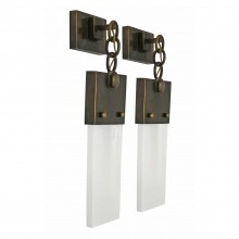Pair of Bronze and Quartz Sconces