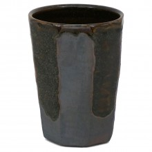 Faceted Brown Stoneware Vase
