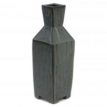 Gray and Black Stoneware Square Vase