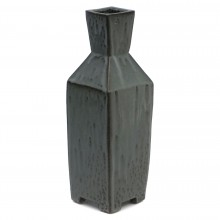 Gray and Black Stoneware Square Vase