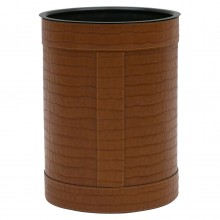 Italian Stitched Leather Waste Paper Basket