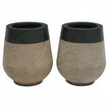 Pair of Partially Glazed Terra Cotta Planters