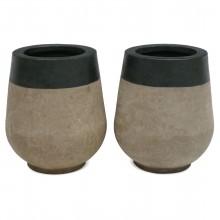Pair of Partially Glazed Terra Cotta Planters