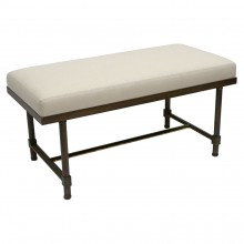 Iron Bench with Linen Seat