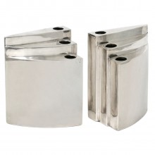Triangular Stepped Silver Plate Candle Holders