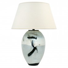 Abstract Ceramic Table Lamp in Light Blue, Black and White