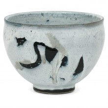 Abstract Ceramic Bowl in Light Blue, Black and White