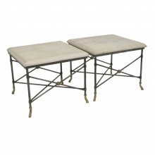 Pair of Square Metal Tables with Limestone Tops
