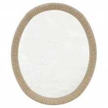 Oval Carved Oak Mirror