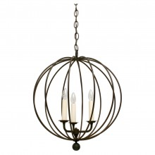 "Three-Light Iron Open Sphere Pendant Light Fixture (16.5"" Diameter)"