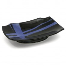 Black and Blue Ceramic Dish