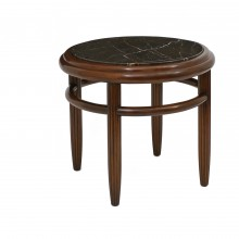 Circular Beech Table with Marble Top