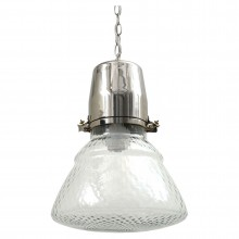 Nickel Plated and Textured Glass Pendant Light