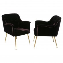 Italian Upholstered Armchairs with Brass Legs