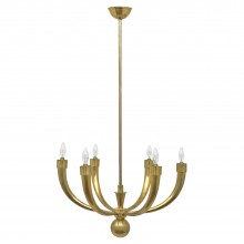 Six Arm Brass Chandelier by Guglielmo Ulrich