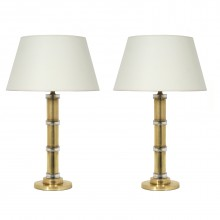 Pair of Crystal and Glass Column Lamps