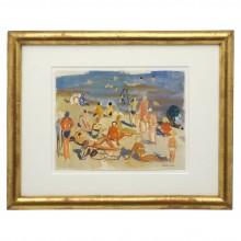 French Watercolor Beach Scene