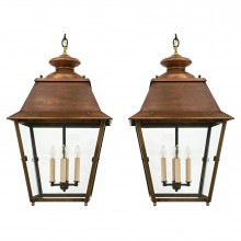 Pair of Square Copper Lanterns