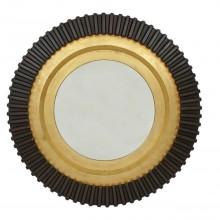 Circular Wood Black and Gold Mirror