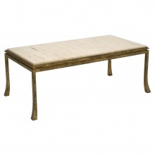 Gilt Iron and Travertine Coffee Table