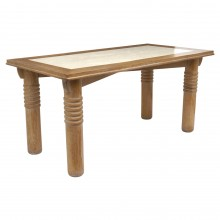 Cerused Oak table with Inset Travertine Top