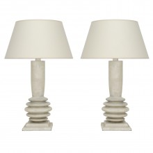 Pair of Turned and Painted Wood Lamps