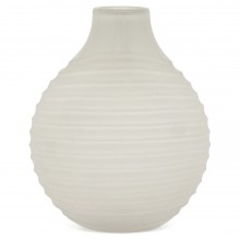 Frosted White Ribbed Vase by Orrosfors
