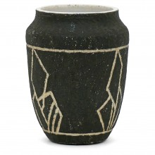 Incised Abstract Black and Cream Vase