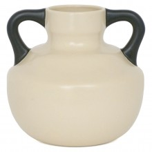 Dutch Cream Vase with Black Handles