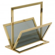 Italian Brass and Glass Magazine Rack